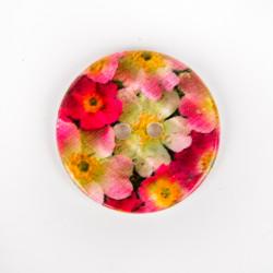 Bouton en nacre fleurs roses