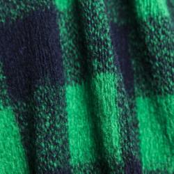 Tissu tricoté en laine à carreaux vert