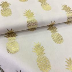 Tissu blanc ananas or
