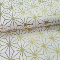 Tissu blanc géométrique or