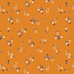 Tissu coton imprimé floral orange
