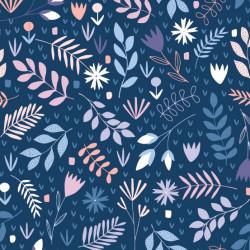 Tissu coton imprimé floral bleu