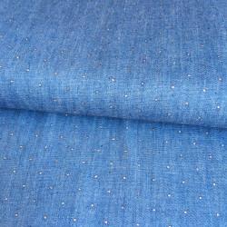 Tissu chambray bleu denim glitter