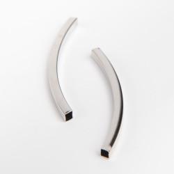 Perle en métal tube courbe 45 mm argent