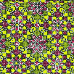 Wax africain - kaléidoscope jaune rose