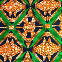 Tissu Wax - graphique orange et vert