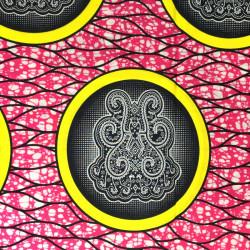 Tissu Wax - batik rose et jaune
