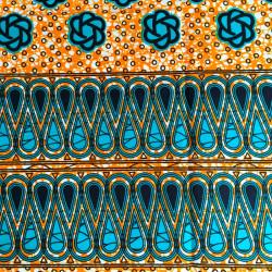 Tissu Wax - gouttes turquoise et orange