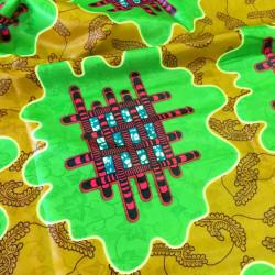 Tissu bazin motifs africains zèbre vert