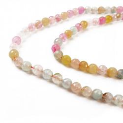 perle agate facettée 10 mm pastel