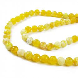 perle agate facettée 10 mm jaune