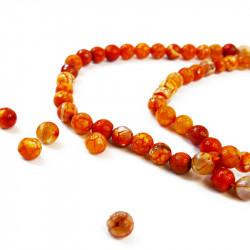 perle agate facettée 10 mm orange