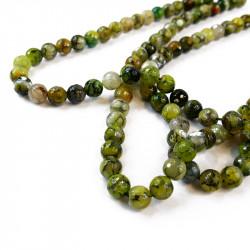 perle agate facettée 10 mm vert olive