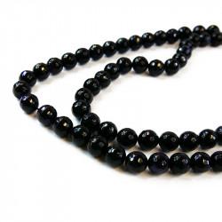 perle agate facettée 10 mm noir