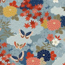 Tissu coton japanese garden bleu