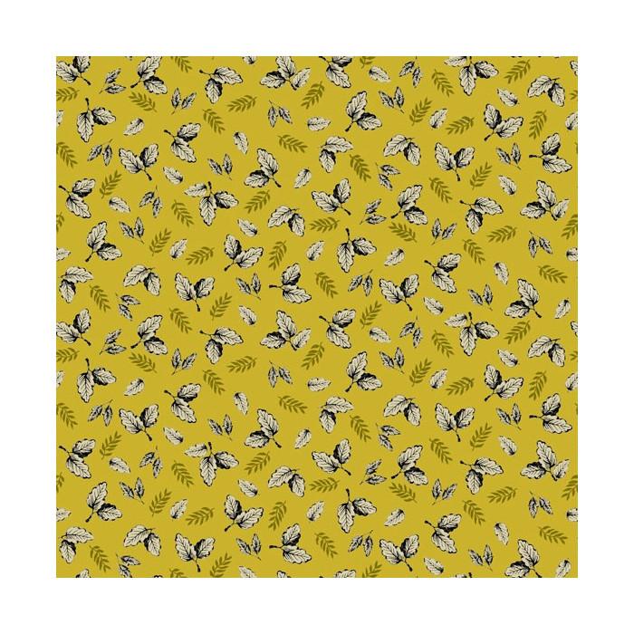 Tissu coton floral ocre
