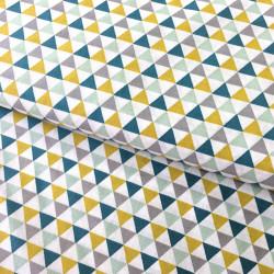 Tissu imprimé triangles bleu - Stof