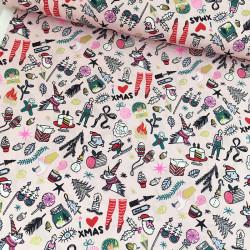 Tissu coton icones de noël - Rico Design