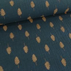 Tissu double gaze - bleu canard feuilles x 10 cm