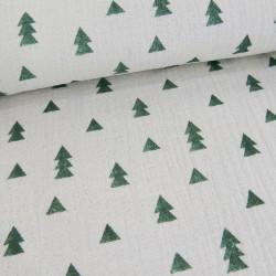 Tissu double gaze - écru vert x 10 cm