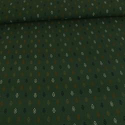 Tissu double gaze - vert motifs épis x 10 cm