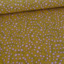 Tissu pearl peach jaune feuilles roses x 10 cm