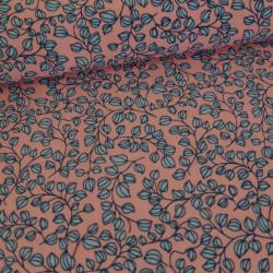 Tissu pearl peach rose feuilles bleues x 10 cm