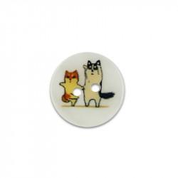 Bouton de nacre imprimé 15 mm chatons