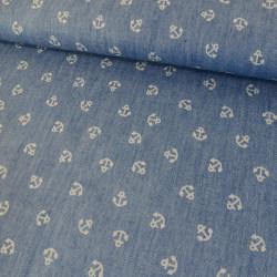 Tissu chambray imprimé ancres - bleu x 10 cm