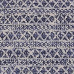 Tissu jersey maille lurex géométrique - bleu x 10 cm