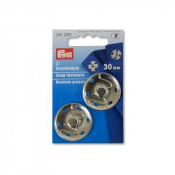 Boutons pression métal 30 mm Prym couleur argent