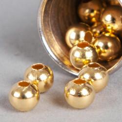 Perle en métal unie 6mm doré