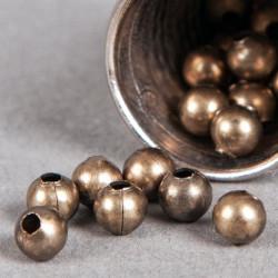 Perle en métal unie 6mm bronze