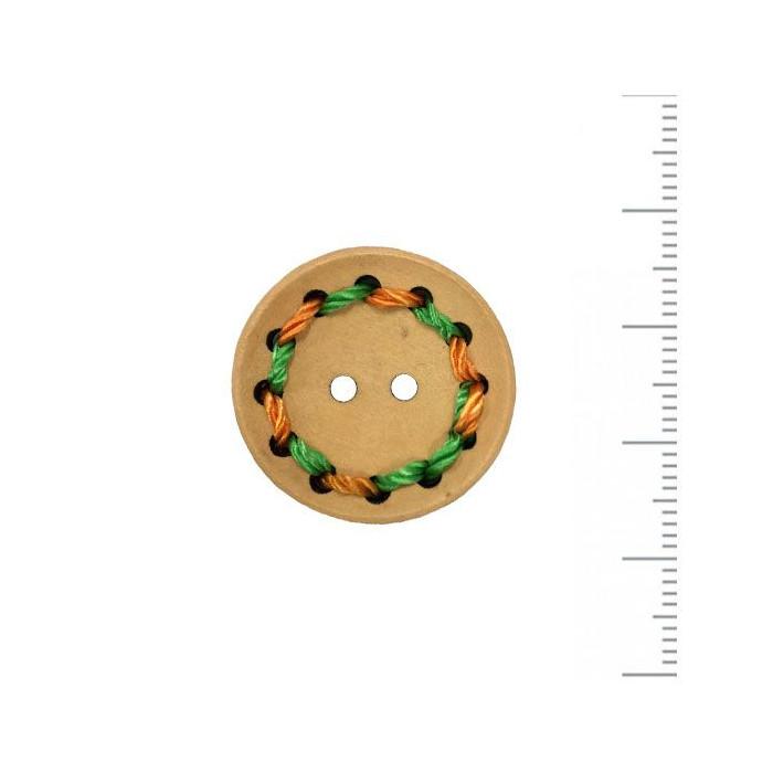 Bouton en bois brodé vert/orange 25mm