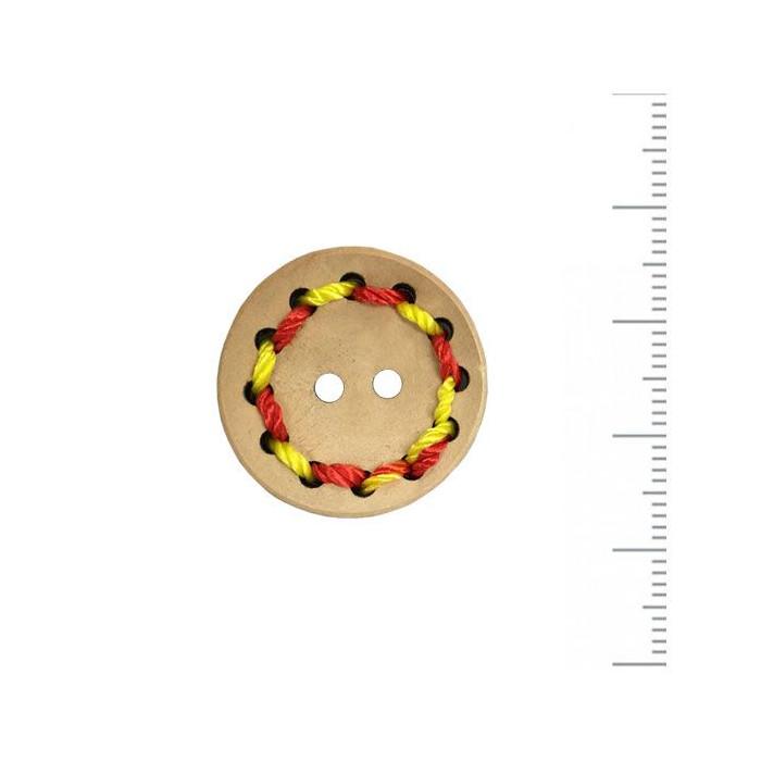 Bouton en bois brodé rouge/jaune 25mm
