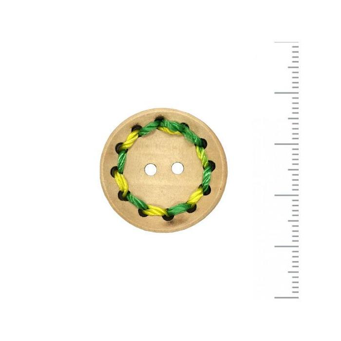 Bouton en bois brodé vert jaune 25mm