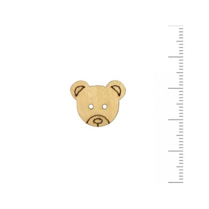 Bouton en bois tête d'ourson 18x15mm