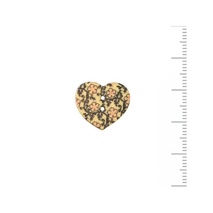 Bouton en bois coeur à motif 17x15mm