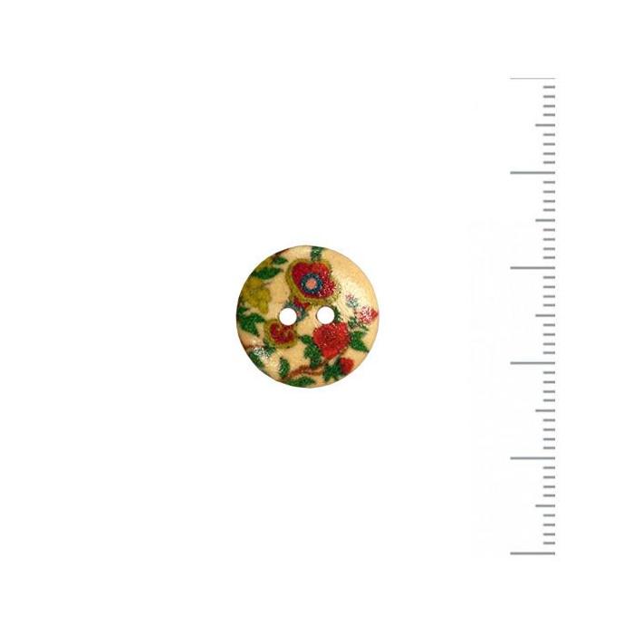 Bouton en bois à motif fleuri 15mm