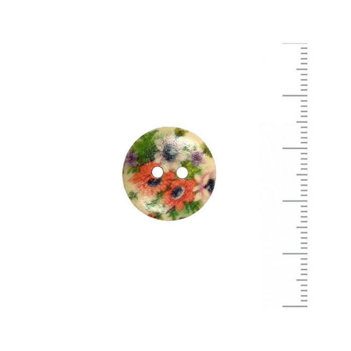 Bouton en bois à motif fleuri 18mm