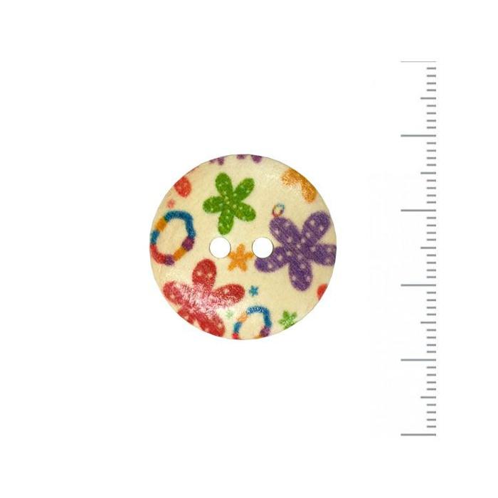 Bouton en bois à motif fleuri 25mm