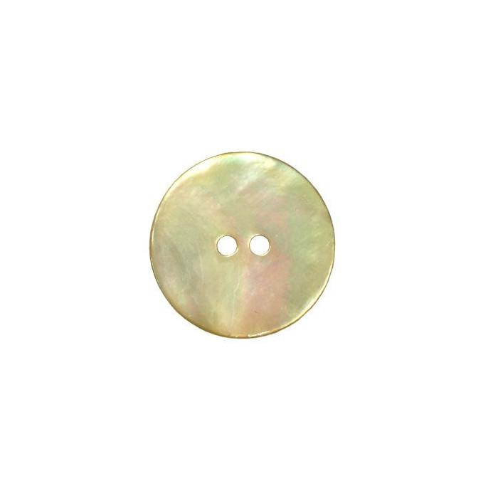 Bouton en nacre deux trous jaune pâle
