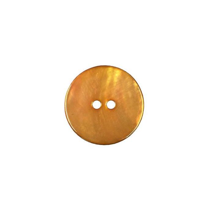 Bouton en nacre deux trous orange foncé