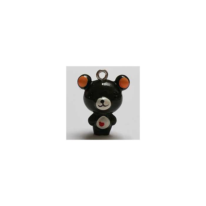 Breloque résine petit ours brun x1