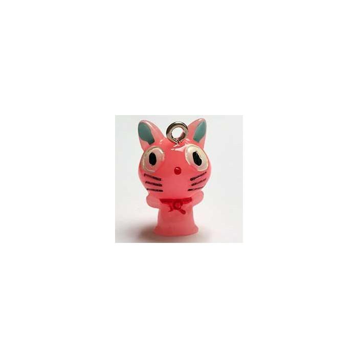 Breloque résine petit chat rose x1