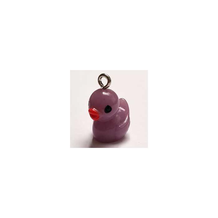 Breloque résine petit canard mauve x1