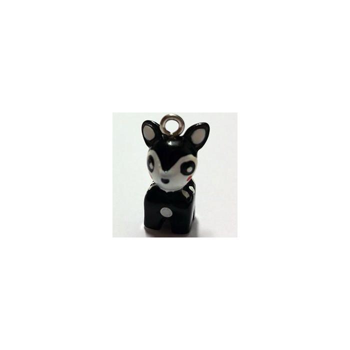 Breloque résine petit faon noir x1