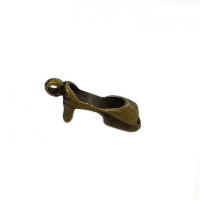 Breloque escarpin à talon large et court 14mm bronze x1