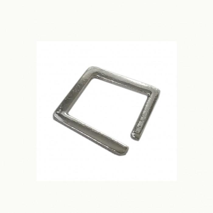 Perle en métal rectangulaire ouverte argent 19mm x1