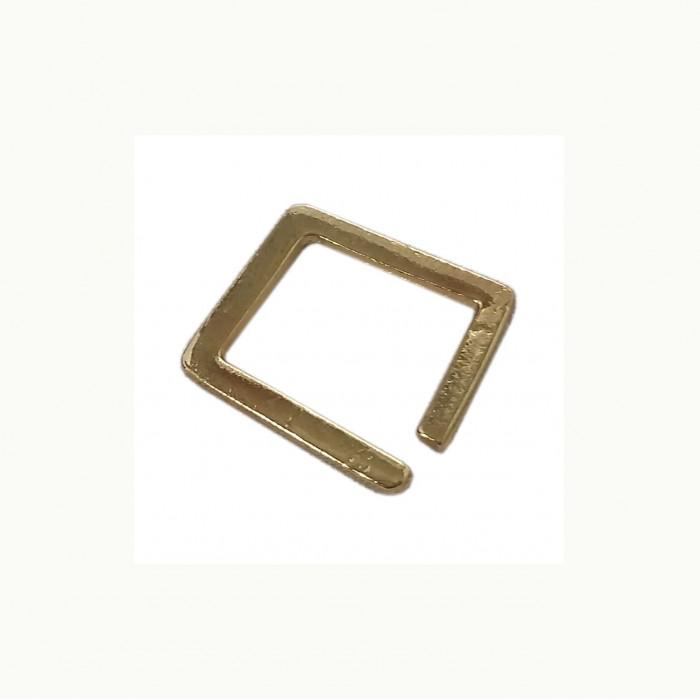 Perle en métal rectangulaire ouverte doré 19mm x1